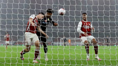 Aston Villa's Ollie Watkins (second left) scores his side's second goal of the game during the Premi