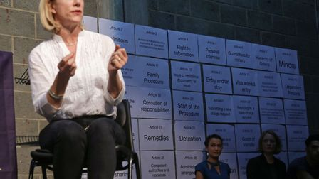 Juliet Stevenson during a staged reading of the Dublin III regulation, which sets out a refugee child's right to claim...