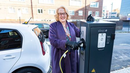Cllr Ann Easter using one of the electric charging points. Picture: Andrew Baker