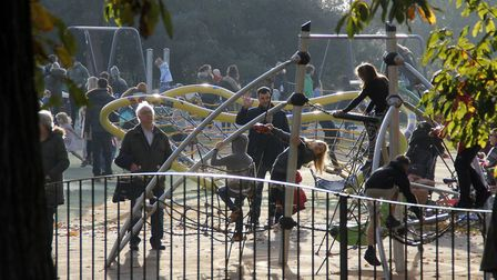 Children in the play area at Chirstchurch Park during the first weekend of the second coronavirus lockdown. Picture: PAUL...