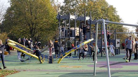 Christchurch Park's play area remained 'buzzing' during the first weekend of the second lockdown. Picture: PAUL NIXON/PAUL...