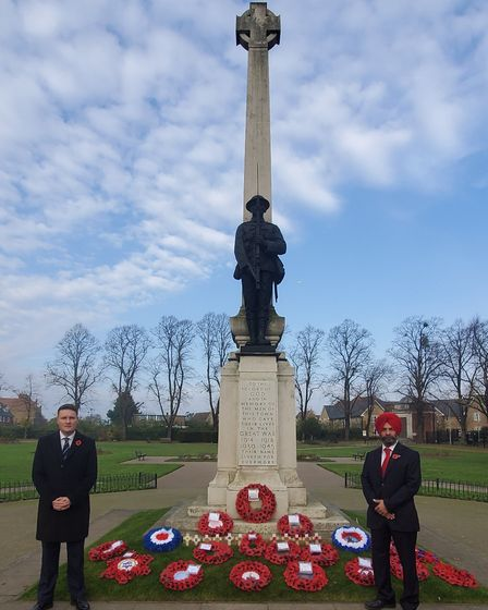 MP Wes Streeting and Cllr Jas Athwal at the Ilford War Memorial. Picture: Jas Athwal