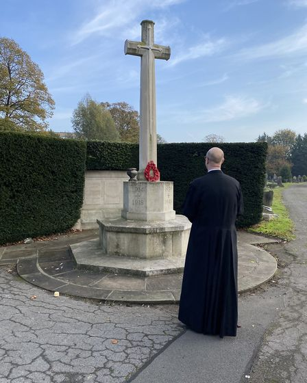Father Gareth Jones said it was a lonely experience honouring the fallen this year. Picture: Gareth
