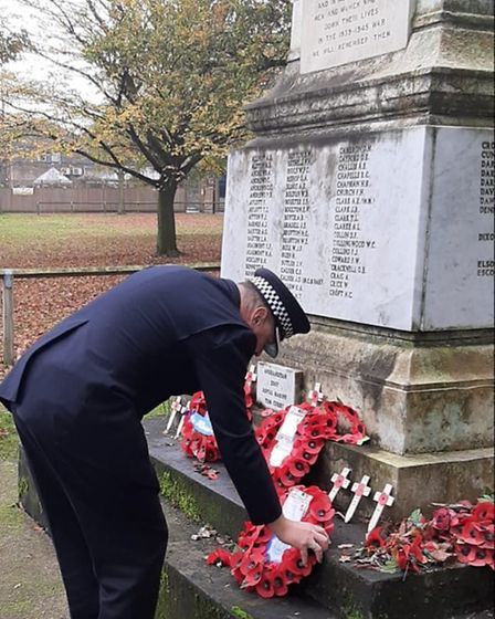 Deputy BCU Commander Supt Mark Long laid wreaths at the memorials across the borough. Picture: Mark