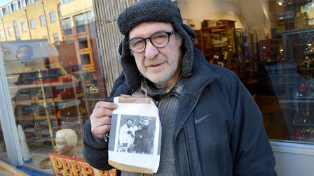 David outside D&A Binder with John Lennon picture. Picture: Tom Smurthwaite