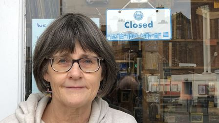 Helen Bott of Treasure Chest Books in Felixstowe, which is currently closed because of lockdown Picture: MARTIN BOTT