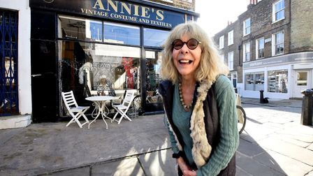 Annie Moss of Annie's Vintage Costume and Textiles, Camden Passage, Islington. Picture: Polly Hancock
