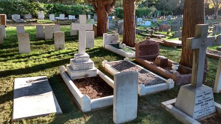 The RAF graves after restoration. Picture: IPSWICH COUNCIL