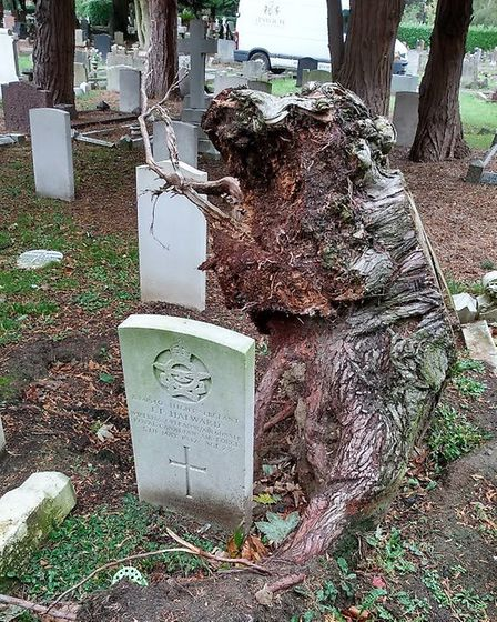 The RAF graves before the area was tidied. Picture: IPSWICH COUNCIL