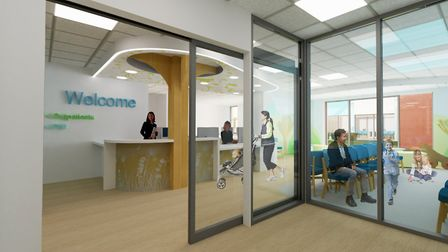 An artist's impression of what the main entrance at the new Ipswich Hospital children's department could look like.