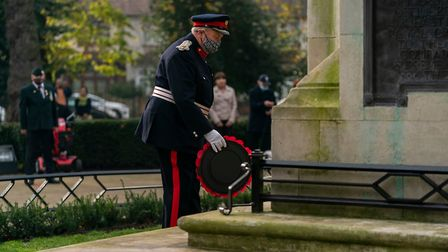 Representatives of the Armed Forces, Royal British Legion and the Queen laid wreaths at the memorial. Picture: Andrew Baker