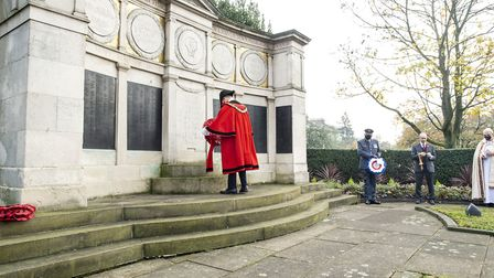Haringey mayor Cllr Adam Jogee laying a wreath. Picture Haringey Council