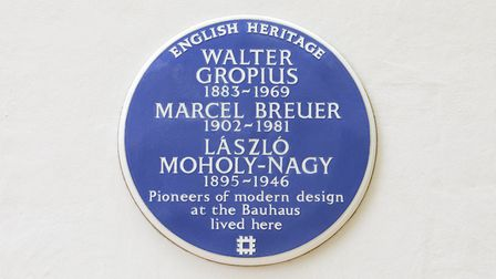 The blue plaque to the Bauhaus Artists Walter Gropius, Marcel Breuer and Laszlo Moholy-Nagyon the Is