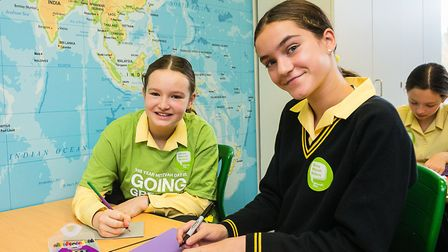 Olivia and Aurelia from South Hampstead High School were among pupils who made cards to go with parc