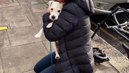Camilla reunited with her owner in Hampstead. Picture: Sharon Traub