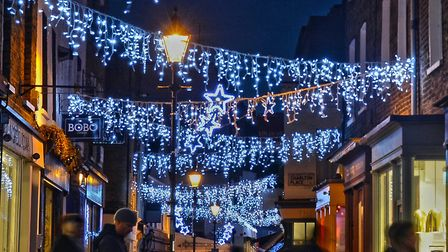 Christmas lights in Camden Passage. Picture: Angel.London