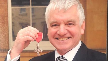 James Holyfield with his MBE. Picture: St John's Hospice