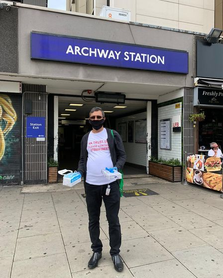 Oliur Rahman has been distributing the supplies around Holloway Road and Angel tube stations. Pictur