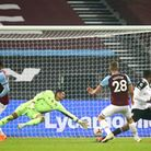West Ham United's Tomas Soucek scores his side's only goal of the game during the Premier League mat