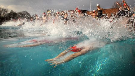 Swimmers take the plunge at Parliament Hill Lido. Picture: Lewis Whyld/PA