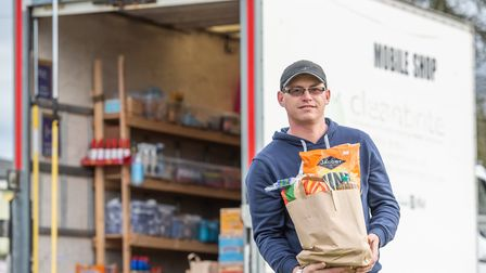 Scott Clarke has diversified his business into a mobile shop selling essential items out of a truck.