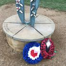 The wreaths and crosses laid at the Fairlop War Memorial to mark Remembrance Day. Picture: David Mar