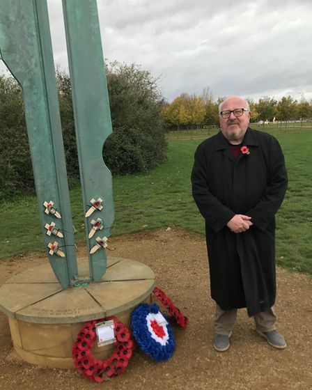 Former Ilford South MP Mike Gapes pays his respects at the Fairlop War Memorial on Remembrance Day.
