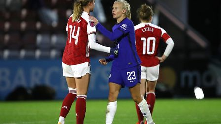 Arsenal's Jill Roord greets Cheslea's Pernille Harder after the final whistle during the FA Women's