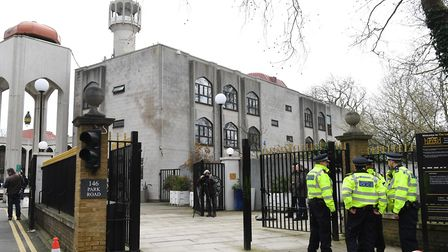 Police outside of the London Central Mosque in Regent's Park after Raafat Maglad was attacked by Dan