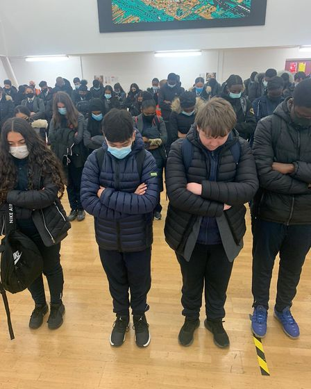 Students honour fallen soldiers at Hackeny New School with a moment of silence. Picture: Hackney New