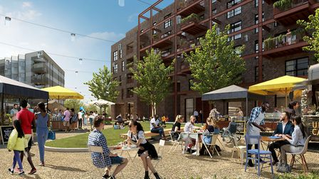 A CGI image of the new neighbourhood aims to link communities in Hackney Wick, Fish Island and Straf