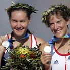 Great Britain's Cath Bishop (left) and Katherine Grainger celebrate with their silver medals after f