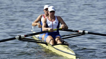 Katherine Grainger and Cath Bishop compete in the Women's Pair heats during the first day of competi