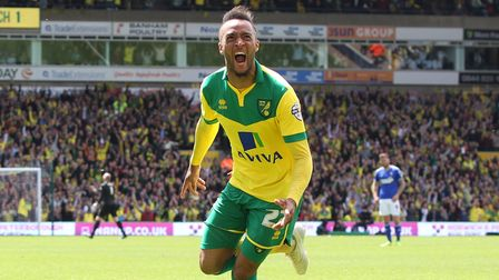 Nathan Redmond of Norwich celebrates scoring his sides 2nd goal during the Sky Bet Championship matc