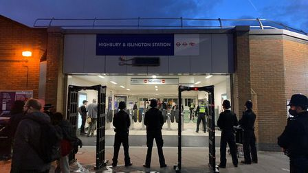 There were multiple police officers and cars, and metal detector gates, at Highbury and Islington ra