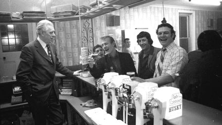 Customers chatting with the landlord. Do you remember Tolly Cobbold's Husky lager? Picture: ARCHANT