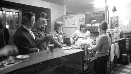 Enjoying an evening at the Emperor pub in Norwich Road, Ipswich, in 1975 Picture: ARCHANT