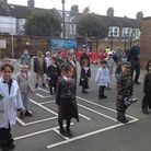 Pupils and staff at St Joseph's Catholic Primary School mark Remembrance Day. Picture: St Joseph's