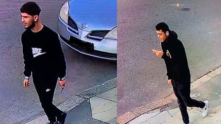 Police are appealing for help in finding these two men who they believe were part of a group who sta