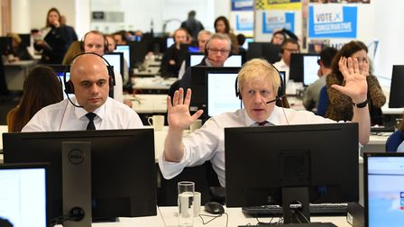 Boris Johnson and chancellor Sajid Javid with other members of the cabinet at Conservative Campaign