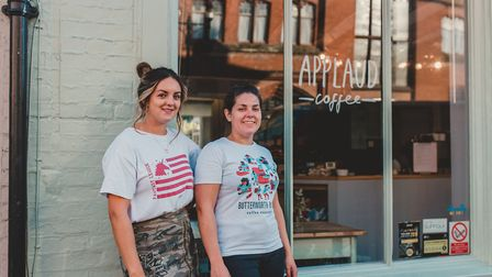 From left, sisters Beth Cook and Hannah Huntly outside Applaud Coffee in St Peter's Street, Ipswich