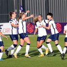 Tottenham Hotspur's Ashleigh Neville (second right) celebrates with her teammates