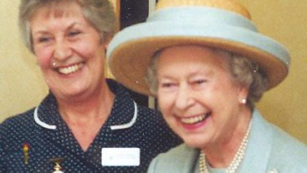 Queen Elizabeth with Ann Hatswell, co-founder of St Luke's Hospice, at the Kenton Grange opening. Picture: St Luke's