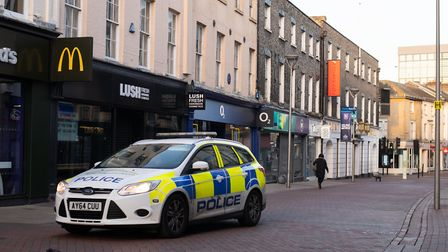 Police in Ipswich town centre on the first day of lockdown earlier this year Picture: SARAH LUCY BROWN