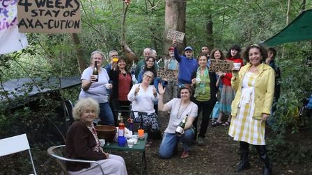 Campaigners with the under-threat oak trees in Queen's Wood. Picture: Julian Glaser
