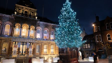 The festive season officially gets underway on the Ipswich Cornhill with the switching on of its Christmas lights.