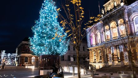 The centrepiece tree on Ipswich Cornhill - there will be an official lighting up with a virtual ceremony on Thursday...