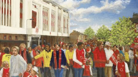 Nigerian artist Chinwe Ifeoma Chukwuogo-Roy MBE was commissioned to paint an Arsenal match day by de