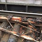 Damage caused by the derailed freight train. Picture: Network Rail