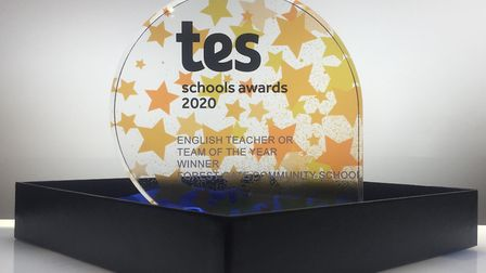 Forest Gate Communtity School's award. Picture: Tes